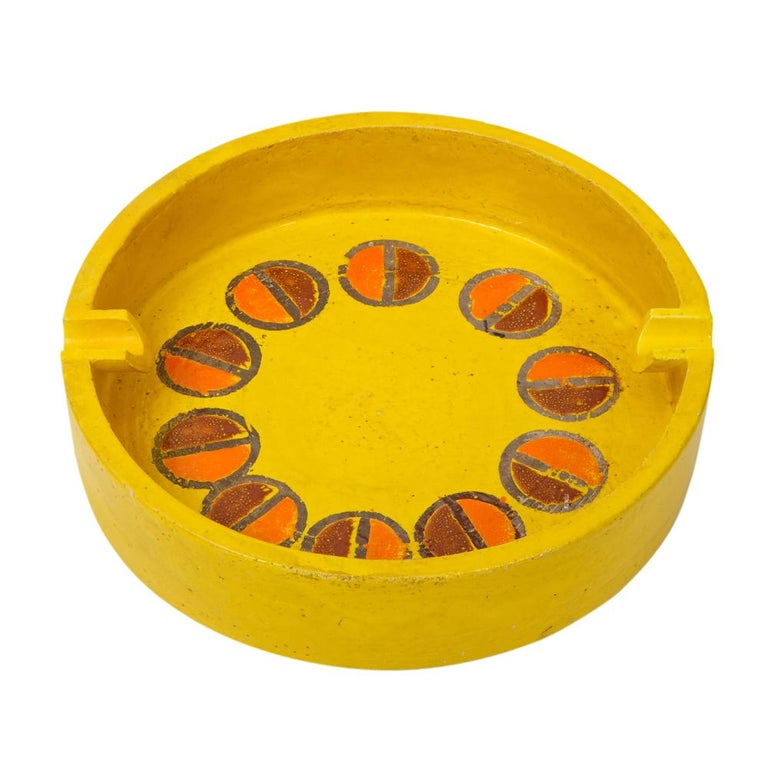 Mid-Century Modern Rosenthal Netter Ashtray, Ceramic, Yellow and Orange, Discs, Signed For Sale