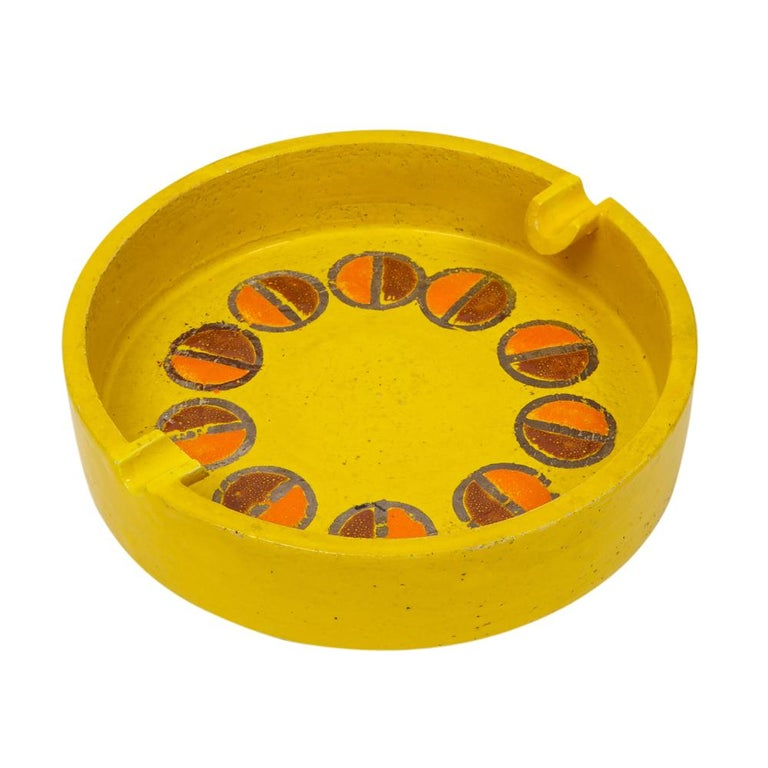Italian Rosenthal Netter Ashtray, Ceramic, Yellow and Orange, Discs, Signed For Sale
