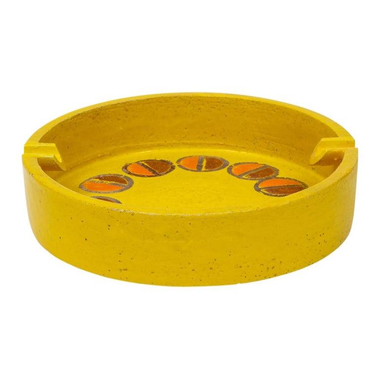 Glazed Rosenthal Netter Ashtray, Ceramic, Yellow and Orange, Discs, Signed For Sale