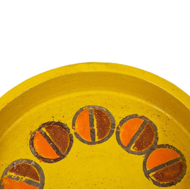Rosenthal Netter Ashtray, Ceramic, Yellow and Orange, Discs, Signed In Good Condition For Sale In New York, NY