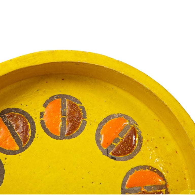 Mid-20th Century Rosenthal Netter Ashtray, Ceramic, Yellow and Orange, Discs, Signed For Sale