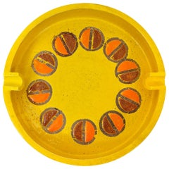 Rosenthal Netter Ashtray, Ceramic, Yellow and Orange, Discs, Signed