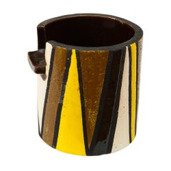 Rosenthal Netter Bitossi Cigar Ashtray, Yellow, Black, White and Brown, Signed