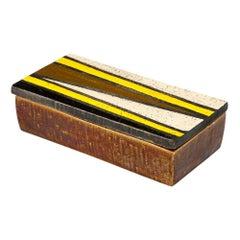 Rosenthal Netter Box, Ceramic, Yellow, Black, White, Brown, Geometric, Signed