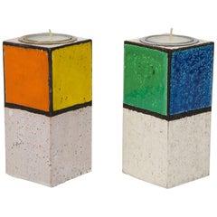 Rosenthal Netter Candlesticks, Ceramic, Mondrian, Orange, Yellow, Blue, Signed