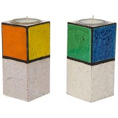 Rosenthal Netter Candlesticks, Ceramic, Mondrian, Signed