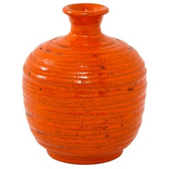Rosenthal Netter Vase, Ceramic, Orange, Ribbed