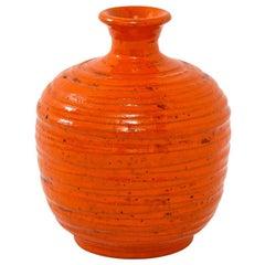 Rosenthal Netter Vase, Ceramic, Orange, Ribbed