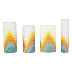 Rosenthal Rosamonde Nairac Vases, Porcelain, White, Yellow, Blue, Signed