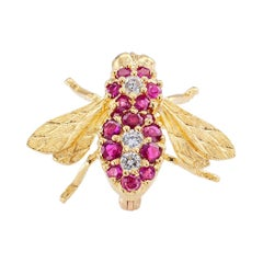 Rosenthal Ruby Diamond Yellow Gold Bee Brooch