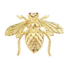 Rosenthal Ruby Gold Bumblebee Brooch