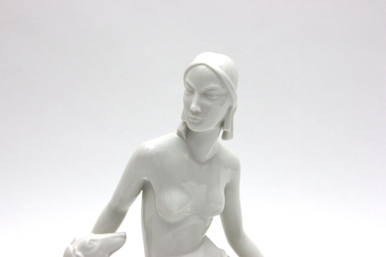 Rosenthal Selb Porcelain Art Deco Figure Diana with Dog from Schliepstein 2