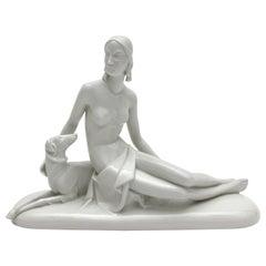 Rosenthal Selb Porzellan Art Deco Figur Diana mit Hund aus Schliepstein