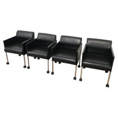 Rosenthal, Set of 4 Black Lacquered and Leather Armchairs on Casters, circa 1970