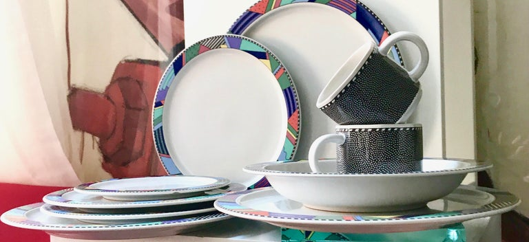 Starter set of the iconic postmodern Rosenthal Studio line collection by Barbara Brenner (1990). Set includes 11 pieces as follows:  3 dinner plates  3 salad plates  1 bread and vegan butter plates  2 teacups  2 bowls.