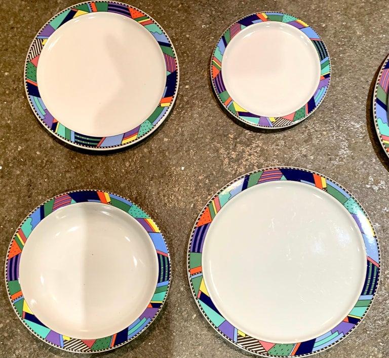 Rosenthal Studio Line Scenario Barbara Brenner Dinnerware Porcelain Memphis Era In Good Condition For Sale In Brooklyn, NY