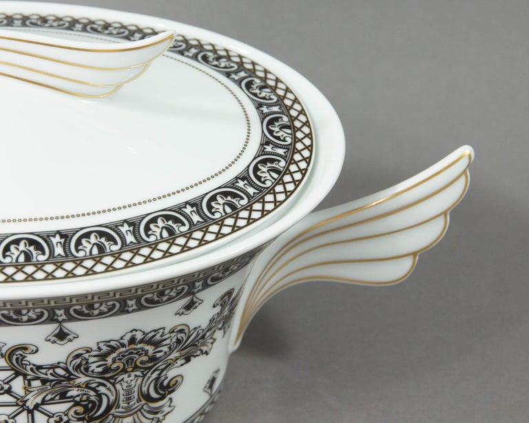 Late 20th Century Rosenthal Versace, Marqueterie, Lidded Serving Bowl For Sale