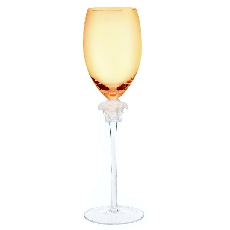 Rosenthal Versace medusa Lumiere amber crystal wine glass set of five, white. Stunning long stem crystal white wine glass manufactured by the Rosenthal Glass Company.  The wine hock stands approximately 10 1/4
