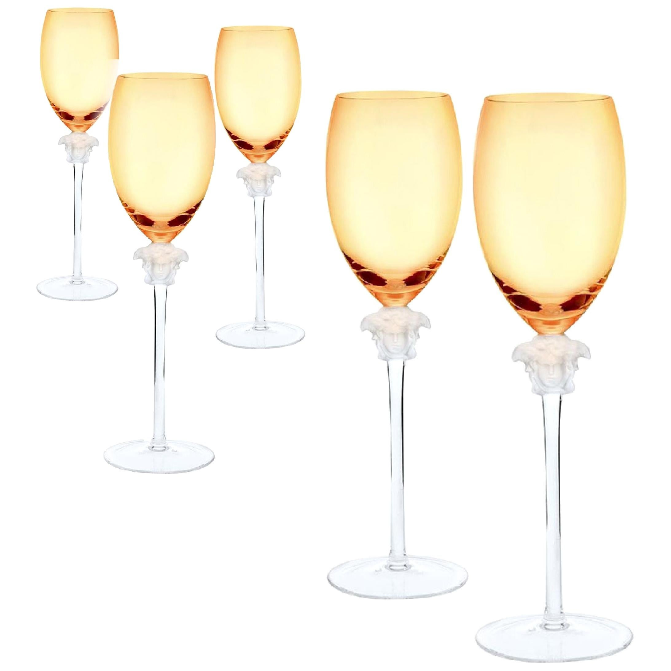 Rosenthal Versace Medusa Lumiere Amber Crystal Wine Glass Set of Five, White