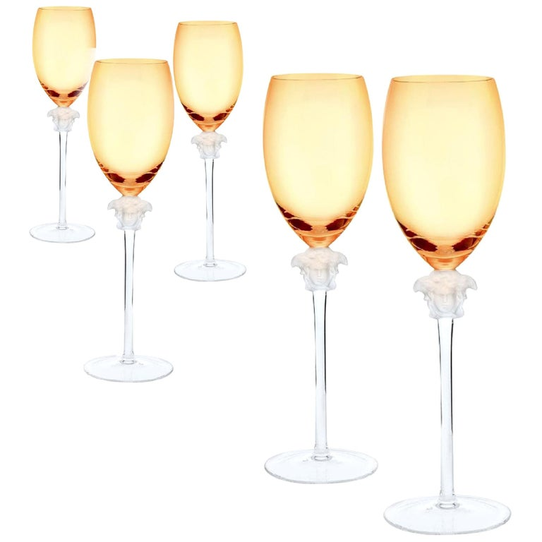 Rosenthal Versace Medusa Lumiere Amber Crystal Wine Glass Set of Five, White For Sale