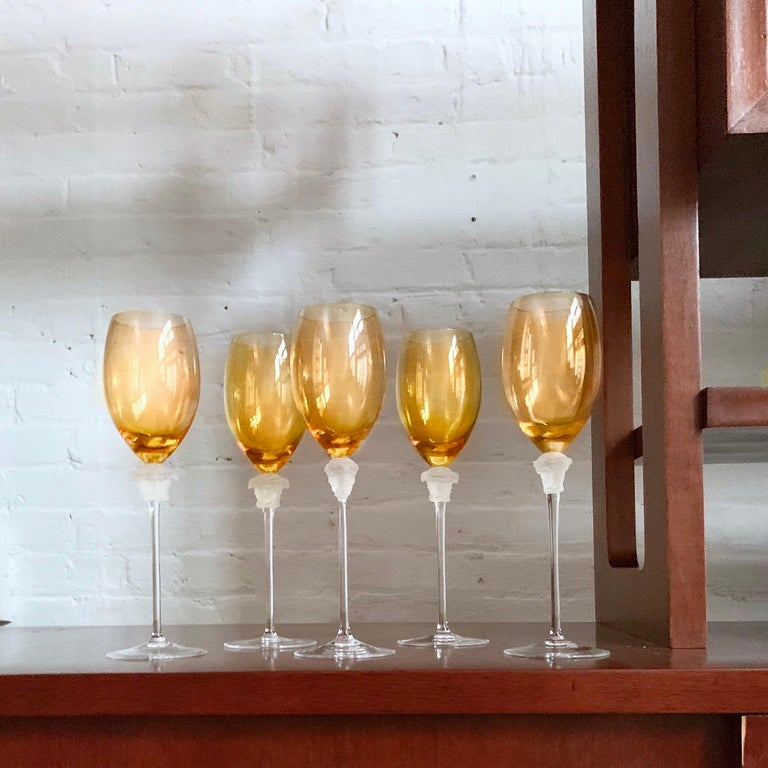 Rosenthal Versace Medusa Lumiere amber crystal wine glass, white, frosted stem. Stunning long stem crystal white wine glass manufactured by the Rosenthal Glass Company. 