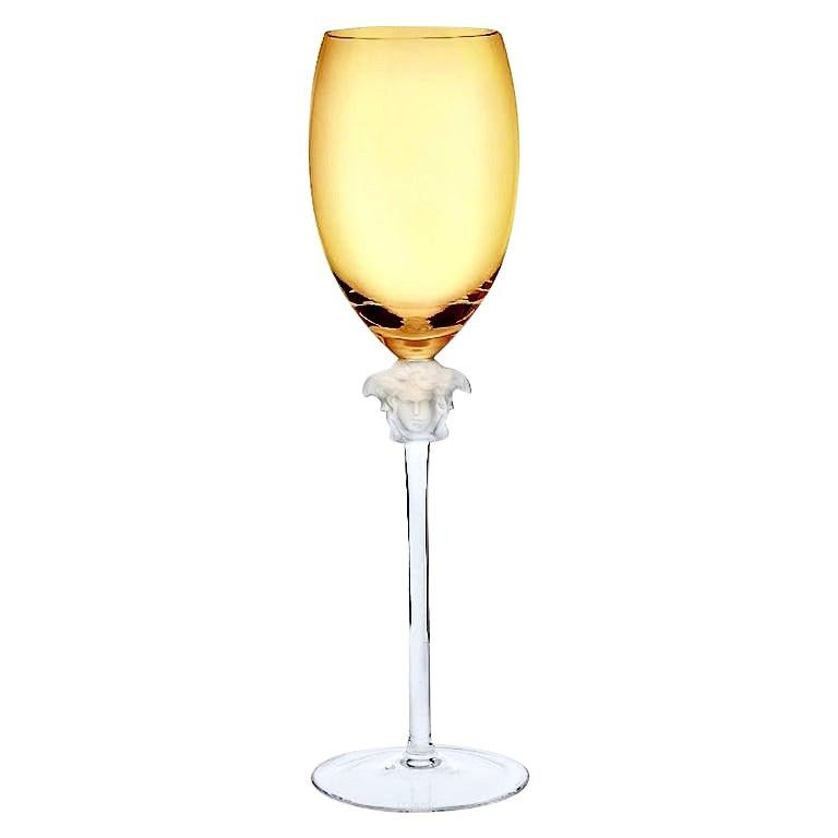 Rosenthal Versace Medusa Lumiere Amber Crystal Wine Glass, White, Frosted Stem