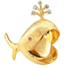 Rosenthal Whale Brooch Diamonds Ruby Gold