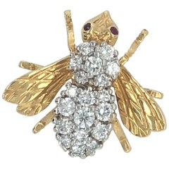 Rosenthal Yellow Gold Diamond Ruby Bee Pin