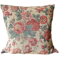 Roses and Tulips Linen Pillow French