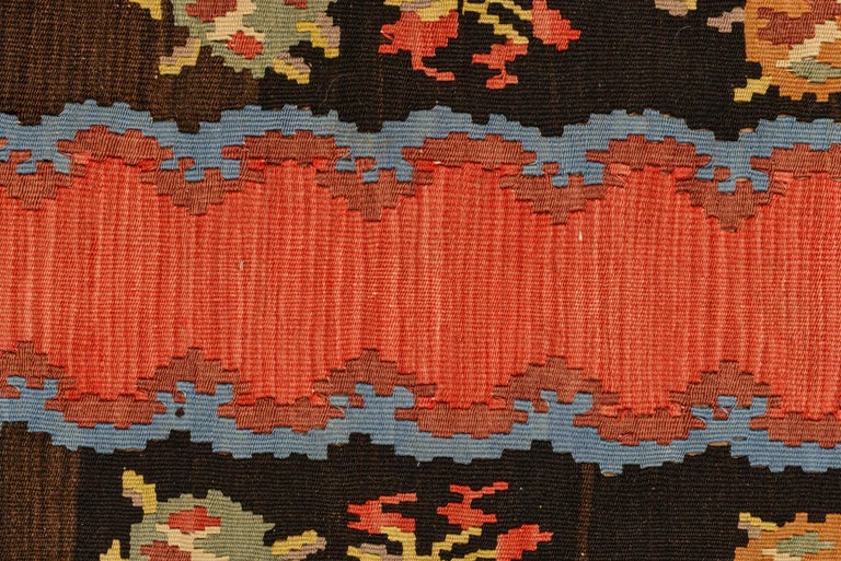 Simply old flat-wave Kilim runner, center red with beautiful Bessarabian rose design in the border: rare and elegant.