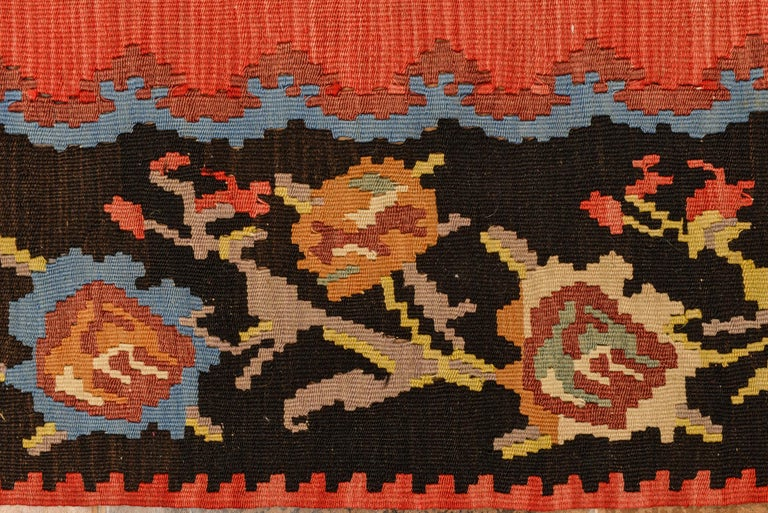 Hand-Knotted Roses Flat-Wave Old Runner Kilim Rug For Sale