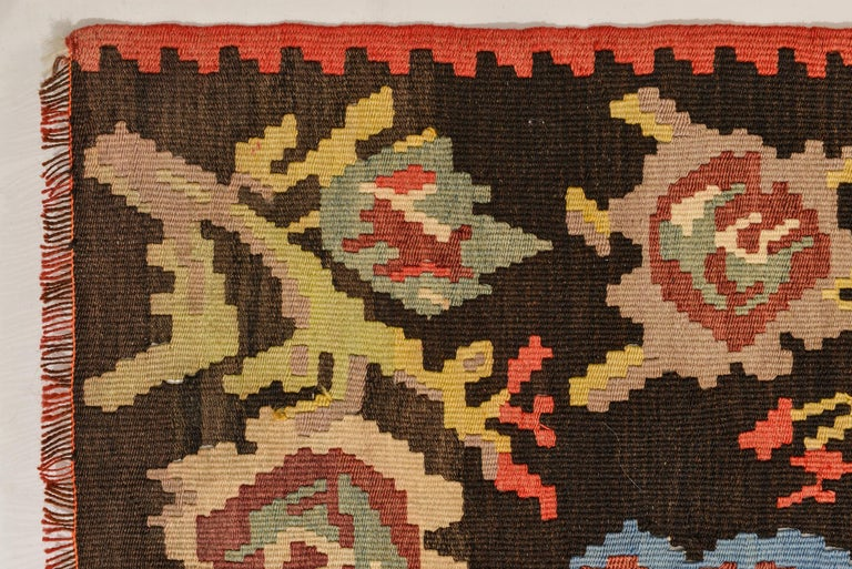 20th Century Roses Flat-Wave Old Runner Kilim Rug For Sale
