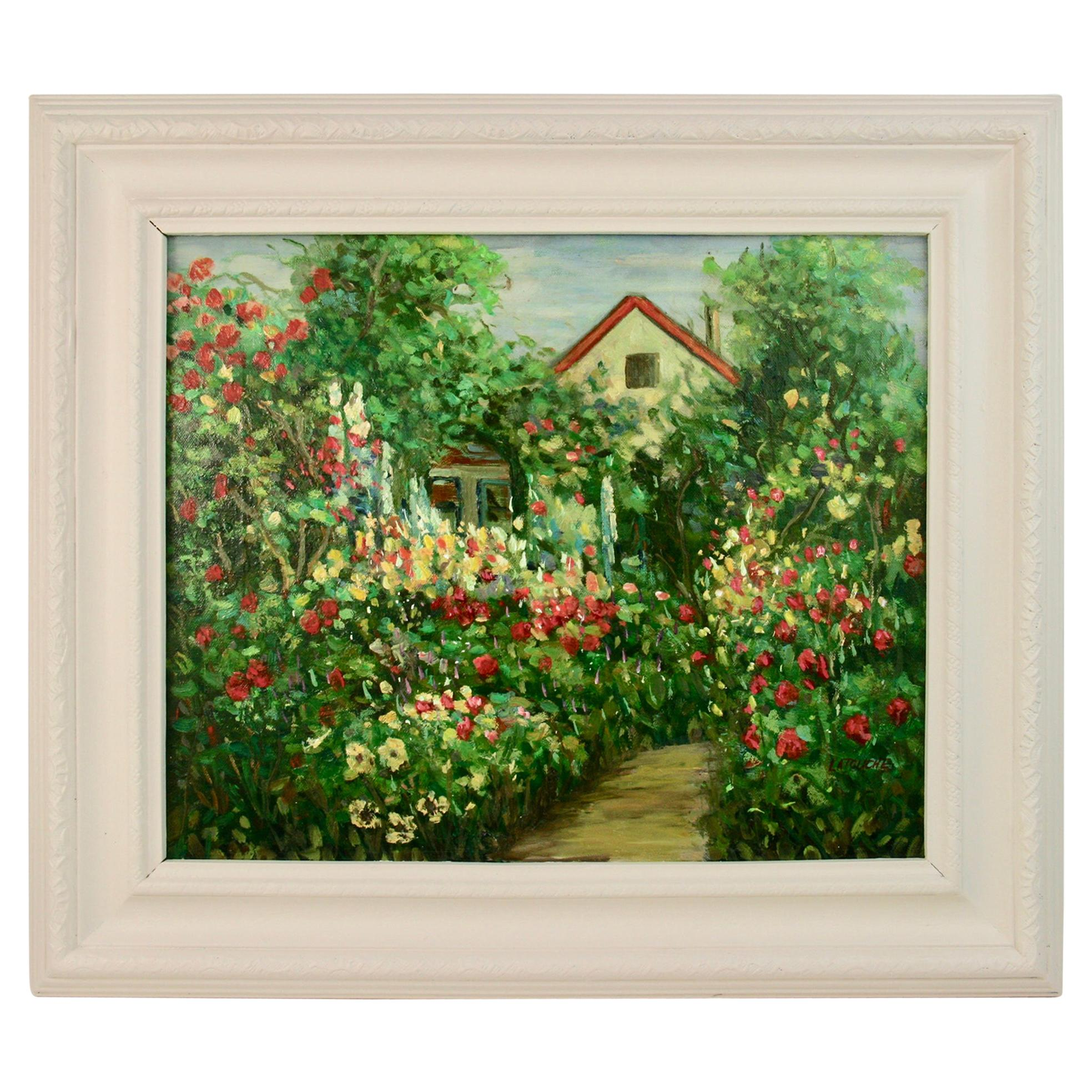 English Country  Garden Landscape Painting