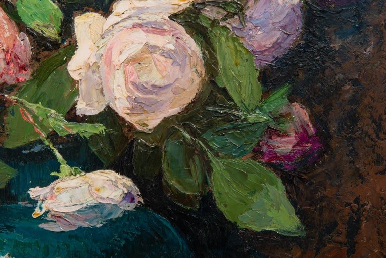 Roses in Vase on Table, Signed Leon Tombu For Sale 3