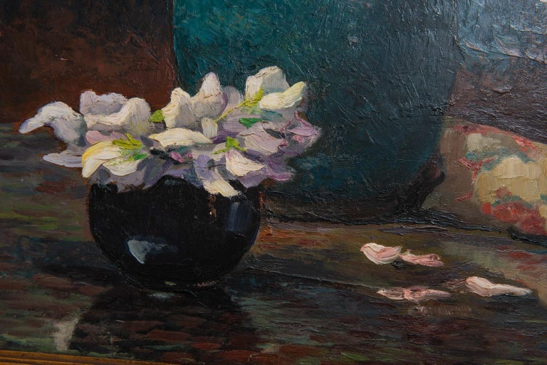 Roses in Vase on Table, Signed Leon Tombu In Good Condition For Sale In Alessandria, Piemonte