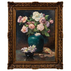 Roses in Vase on Table, Signed painting
