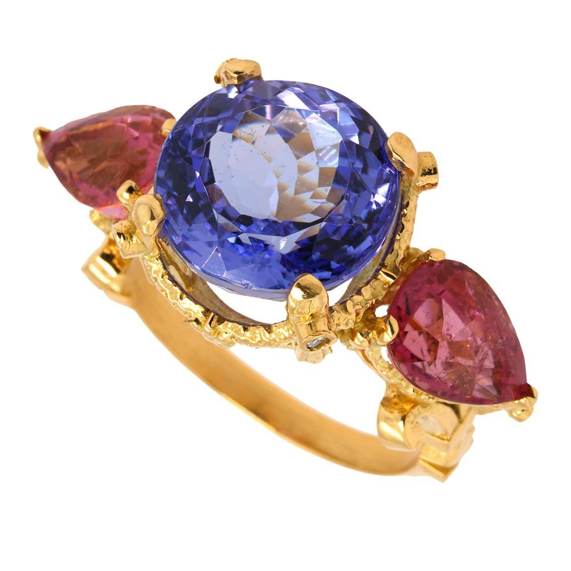 Roses of Heliogabalus Ring 18Kt Yellow Gold Tanzanite, Tourmalines, Diamonds