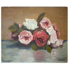Flowers Oil Painting, Still Life with roses, 1950