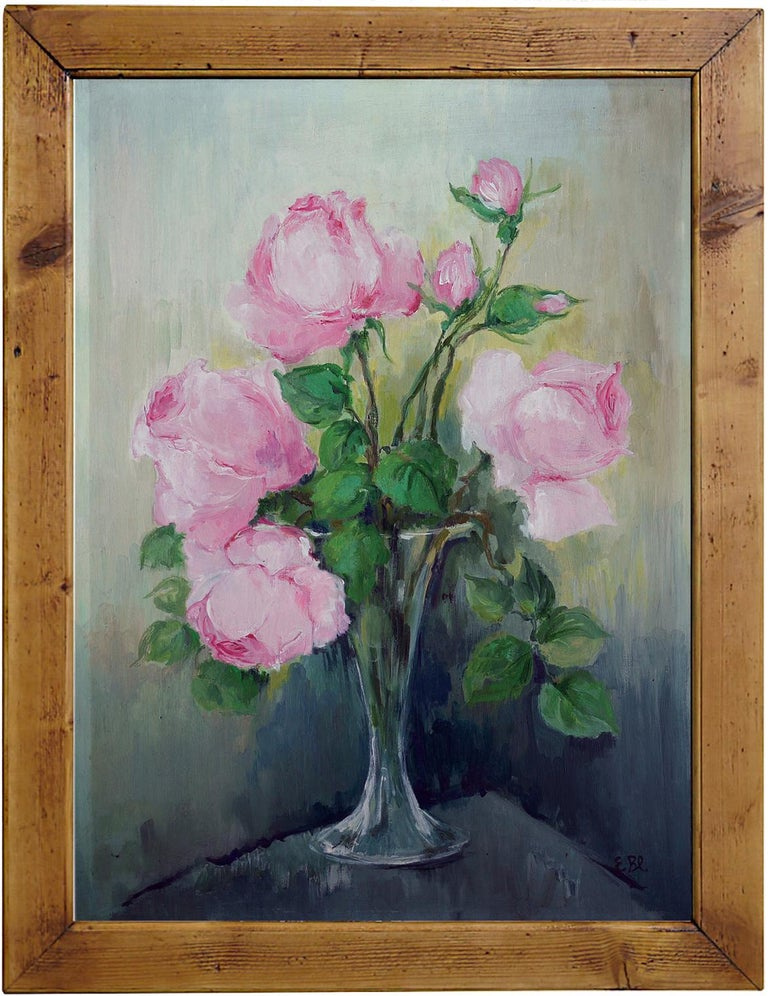 France, 1950 Measures: 50 cm x 35 cm (frame excluded) 19.7 in x 13.8 in (frame excluded) oil on board  Painting depicting a glass vase containing pink roses Antique fir frame.