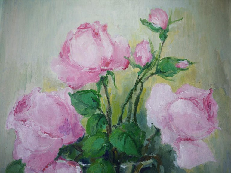 Folk Art Roses Oil Painting, Still Life with Flowers, 1950 For Sale