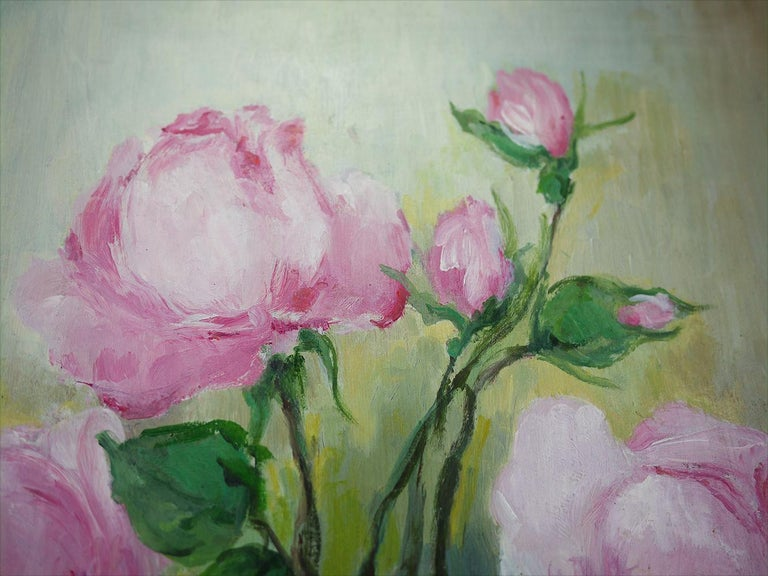 French Roses Oil Painting, Still Life with Flowers, 1950 For Sale
