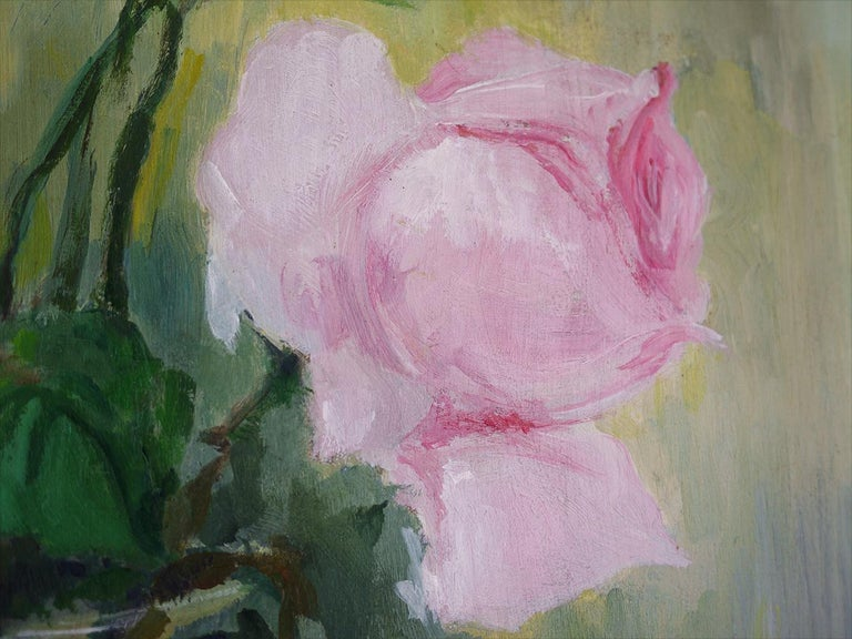 Oiled Roses Oil Painting, Still Life with Flowers, 1950 For Sale