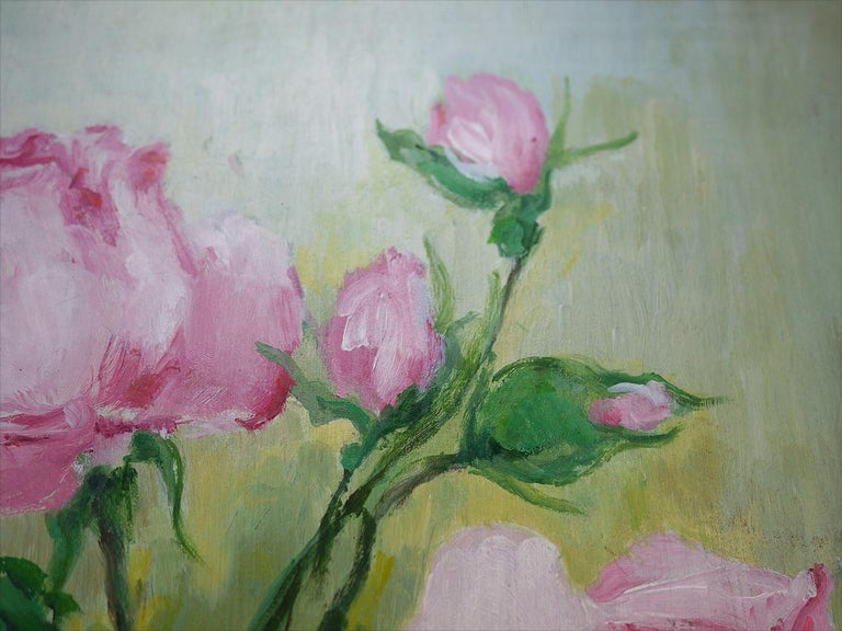 Roses Oil Painting, Still Life with Flowers, 1950 In Excellent Condition For Sale In Albignasego, IT