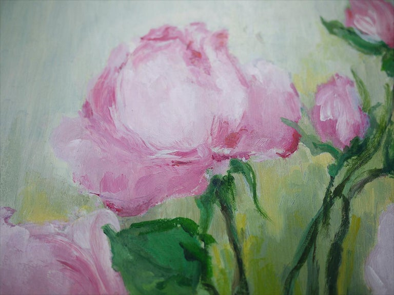 Mid-20th Century Roses Oil Painting, Still Life with Flowers, 1950 For Sale