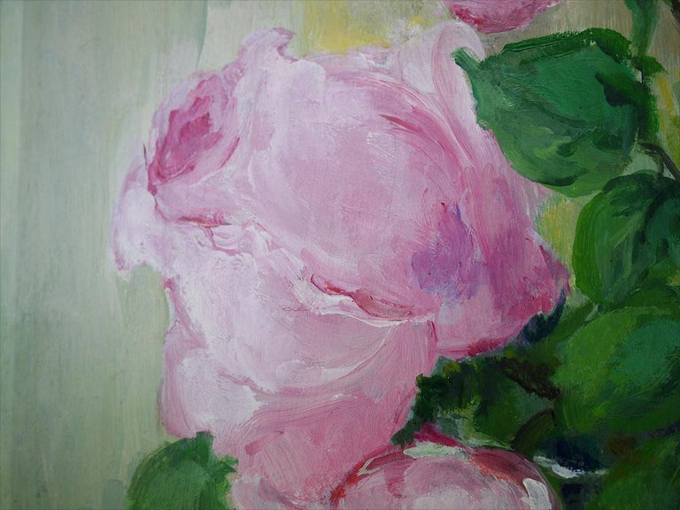 Roses Oil Painting, Still Life with Flowers, 1950 For Sale 1