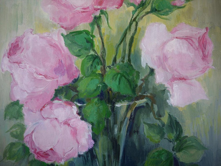 Roses Oil Painting, Still Life with Flowers, 1950 For Sale 2