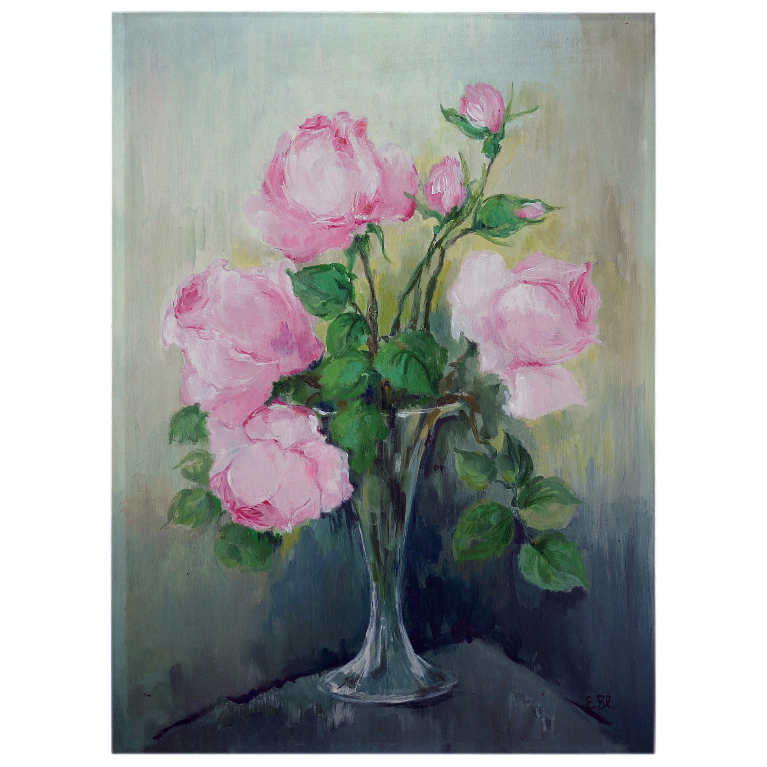 Roses Oil Painting, Still Life with Flowers, 1950
