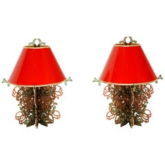 Roses on the Vine Table Lamps, Studio Job, Red & Green Crystal, Very Rare, Pair