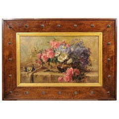 Roses Painting in a Large Unusual Deco Wooden Frame