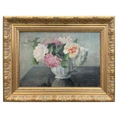 Roses Painting, Létourneux Yvonne Oil on Canvas, France 1950